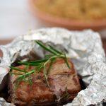 Schweinefilet in Portwein-Soße mit Zwiebel-Reis