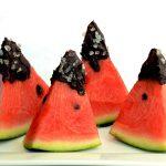Melone mit Schokolade und Salz
