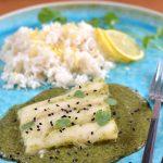 Koriander-Kabeljau mit Zitronen-Reis