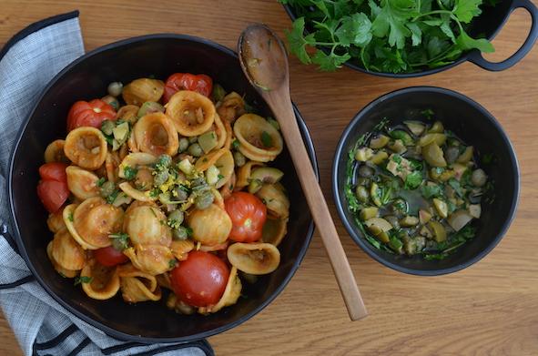 One-Pot Orechiette Puttancesca nach Ottolenghi